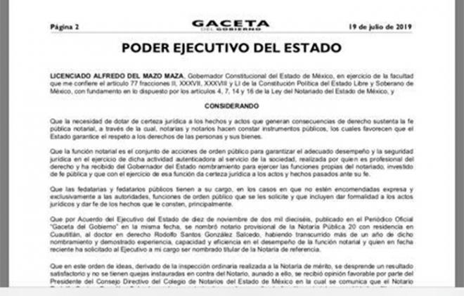 Ratifican a nueve de 12 notarios nombrados en el gobierno de Eruviel Ávila