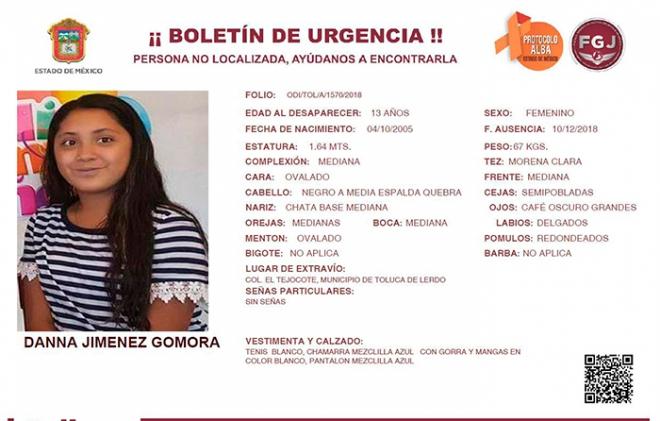 Danna desapreció de su casa en Toluca sin dejar rastro